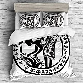 Cotton Duvet Cover 4 Pcs Comforter Cover Set Breathable and Skin-Friendly Bedding Set(queen size)African Woman,Round Ring Shaped Frame with Tribal Woman Agriculture Prehistoric Art Decorative,Black