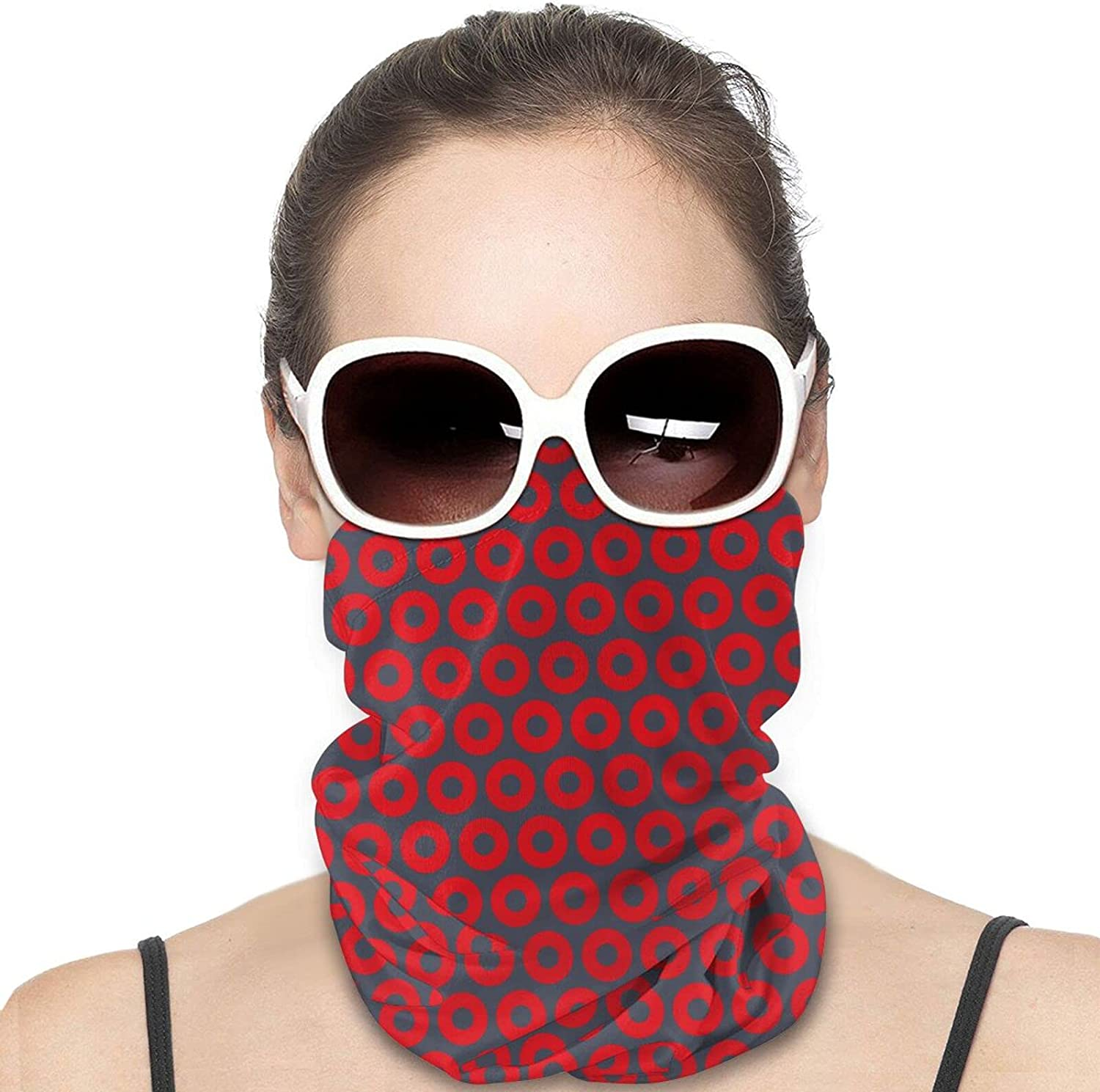 Red Donut Circles On Round Neck Gaiter Bandnas Face Cover Uv Protection Prevent bask in Ice Scarf Headbands Perfect for Motorcycle Cycling Running Festival Raves Outdoors
