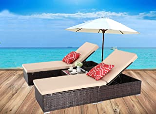 HTTH Outdoor Chaise Lounge, Easy to Assemble Chaise Longue, Thick & Comfy Cushion Wicker Lounge Chairs, 3 Pcs Chaise Lounge Chair Set for Garden,Patio,Pool