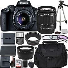 Canon EOS 4000D Cámara DSLR con EF-S 0.709-2.165 in f/3.5-5.6 III Lente Paquete Principiante - Incluye: Batería de repuesto LPE10 de larga duración, trípode flexible y más