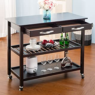 LZ LEISURE ZONE Rolling Kitchen Island Serving Cart Wood Trolley w/Countertop, 2 Drawers, 2 Shelves and Lockable Wheels (Dark Brown)