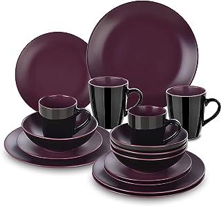 vancasso, Série BACCHE, Service de Table Complet en Céramique Matte, 16 Pièces pour 4 Personnes, Assiette Plate, Assiette ...