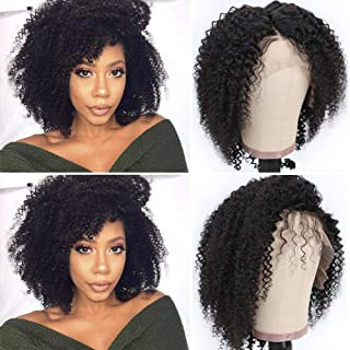 Short Afro Kinky Curly Lace Front Wigs Brazilian Virgin Hair Curly Afro Wigs for Black Women Human Hair With Baby Hair 4B 4C Natural Color 10inch