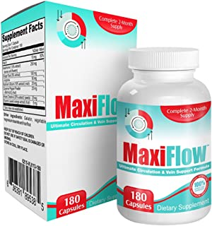 MaxiFlow: 2-Month Circulation Support Supplement - Pills - Health Formula - Natural Blood Circulation Booster Supplements - 180 Capsules
