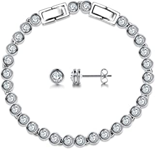 Classic Jewelry Set 925 Sterling Silver Tennis Bracelets Stud Earrings Sets with Swarovski Crystals, Bridal Wedding Gifts for Women