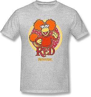 Men Short Sleeve Fashion Tees Fraggle Rock Red Circle Gray Pop T Shirt