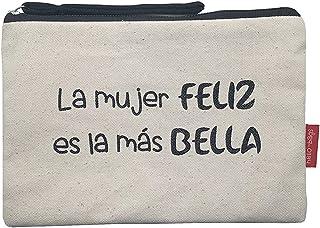 Hello-Bags Bolso Neceser/Cartera de Mano. Algodón 100%. Blanco. con Cremallera y Forro Interior. 23 * 15,5 cm. Incluye sob...