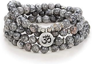اكتشافي الذاتي رمز اليوغا 8 مم مالا الخرز سوار 108 قلادة روحية اكسسوارات التأمل مجوهرات للنساء الرجال هدايا