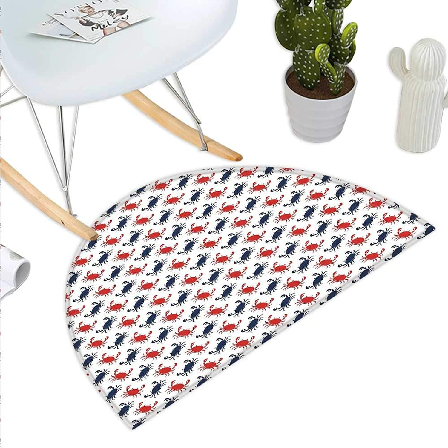 Crabs Semicircle Doormat Sea Animals Theme Crabs on The White Background with Vintage Style Pattern Print Halfmoon doormats H 23.6  xD 35.4  bluee and Red