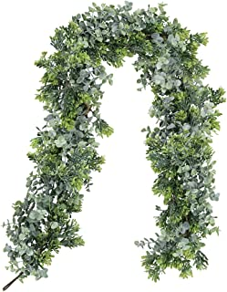 Supla 5.9' Long Faux Artificial Eucalyptus Leaves and Wired Boxwood Twigs Vine Garland String Wedding Arch Swag Backdrop Garland Doorways Greenery Garland Table Runner Garland Indoor Outdoor