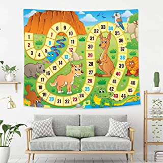 BEIVIVI Colorful Art Design Tapestry Board Game Australian Cartoon Landscape with Numbers Natural Widlife Concept Fun Play Print Decorative Multicolor Wall Tapestry with Art Nature Home Decorations