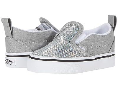 Vans Kids Slip-On V (Infant/Toddler) ((Micro Sequins) Silver/True White) Girls Shoes