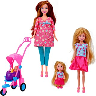 Liberty Imports Happy Family Welcome Baby 11.5-Inch Pregnant Doll Toy with Teen, Daughter, Newborn, Stroller and Accessories Playset (22 Pieces)