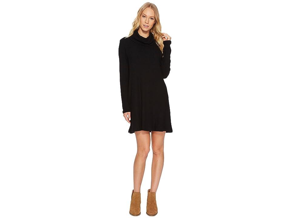 Michael Stars Madison Brushed Ribbed Long Sleeve Cowl Neck Dress (Black) Women