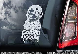 Doppel Doodle Auto Aufkleber,Golden Goldendoodle Hund Fenster Schild Aufkleber