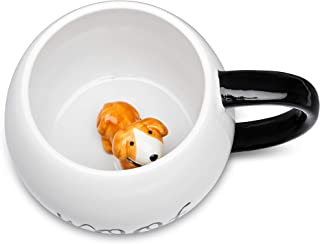 Ceramic Coffee Mug With 3D Animal Surprise – Cat & Dog Tea Mug For Hot Drinks & Cold Beverages – Dishwasher Safe Novelty Cup With Comfortable Handle – Great Gift Idea For Pet Owners Large 17OZ (Dog)