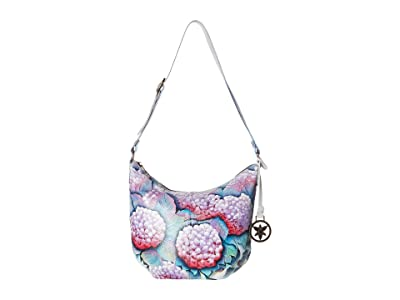 Anuschka Handbags 471 Medium Bucket Hobo (Hypnotic Hydrangeas) Handbags