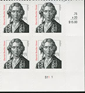 HARRIET BEECHER STOWE ~ BLACK HERITAGE ~ ABOLITIONIST #3430 Plate Block of 4 x 75 cents US Postage Stamps