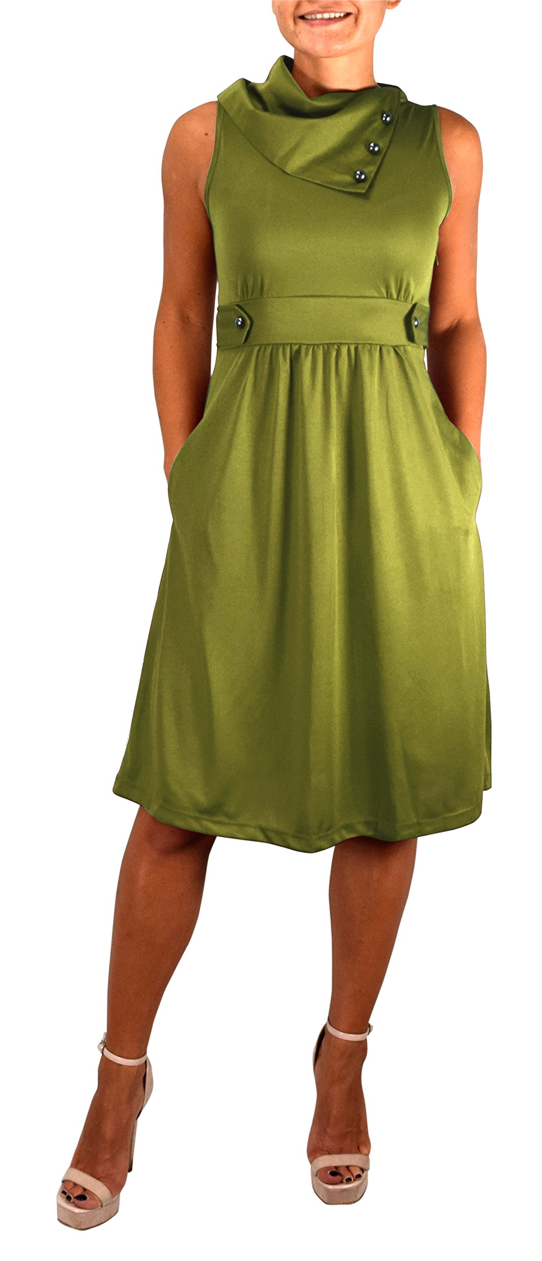 Available at Amazon: Peach Couture Women's Casual Sleeveless Classic Fold Over Collar A-Line Dress