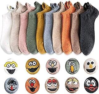 Calcetines tobilleros de expresión invisible de algodón para mujer Calcetines sonrientes de dibujos animados Transpirable absorbente de sudor Antifricción