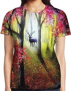 3D プリント レディース 半袖 Tシャツ レッド森鹿ペインティング クルー ネック おしゃれ シャツ トップス
