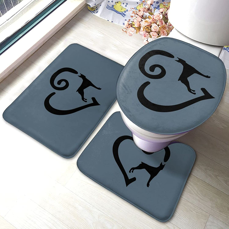 Doberman Heart Super sale period limited Bathroom Antiskid Al sold out. Set Piece Pads Bath 3