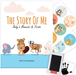 Baby Memory Book - Photo Album, Journal & Scrapbook for Newborn (Ink Pad & Monthly Stickers) Best New Mom Gift - Record First 5 Years Memories & Milestones - 70 Pages - Baby Shower Gift for Girl & Boy