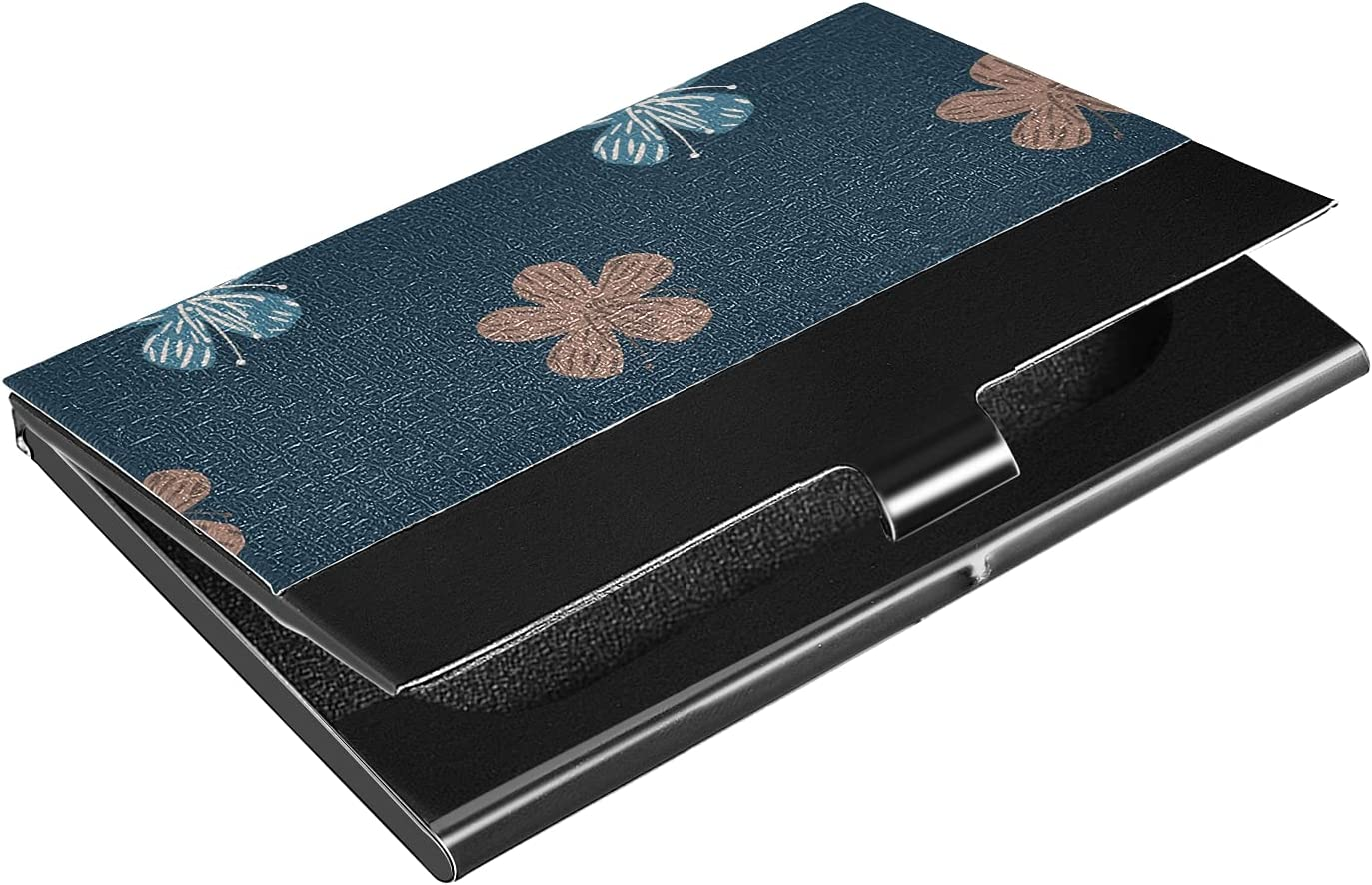 OTVEE Blue and Beige Flowers Business Card Holder Wallet Stainless Steel & Leather Pocket Business Card Case Organizer Slim Name Card ID Card Holders Credit Card Wallet Carrier Purse for Women Men