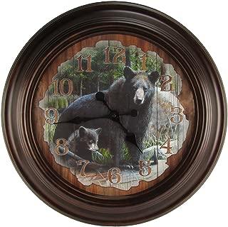 TreasureGurus, LLC Large Round Black Bear Big Huge Wood Wall Clock Rustic Hunting Cabin Lodge Decor