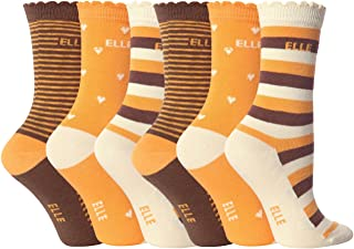 ELLE - 6 Pair Multipack Girls Cotton Quality Striped Patterned School Socks