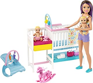 Barbie Nursery Playset with Skipper Babysitters Doll, 2 Baby Dolls, Crib and 10+ Pieces..