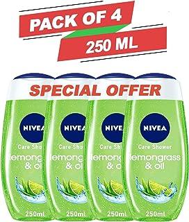 NIVEA Lemongrass & Oil Body Bath Shower Care Gel Wash Set for Women Men Dry Skin Eczema Combo Offer Pack of 4 x 250 ml