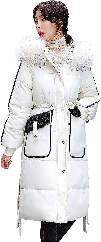 Winter Coats for Women, Women Faux Fur Hoodied Coat, Padded Slim Coat , Zipper Buttons Soft Long Jacket Outerwear