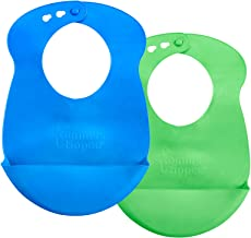 Tommee Tippee Easi-Roll Up Bib, BPA-free Crumb & Drip Catcher - Blue & Green, 2 Count