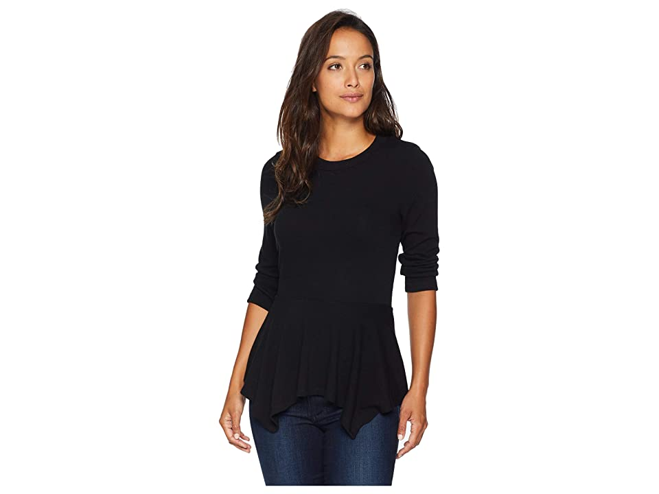 Karen Kane 3/4 Sleeve Peplum Sweater (Black) Women