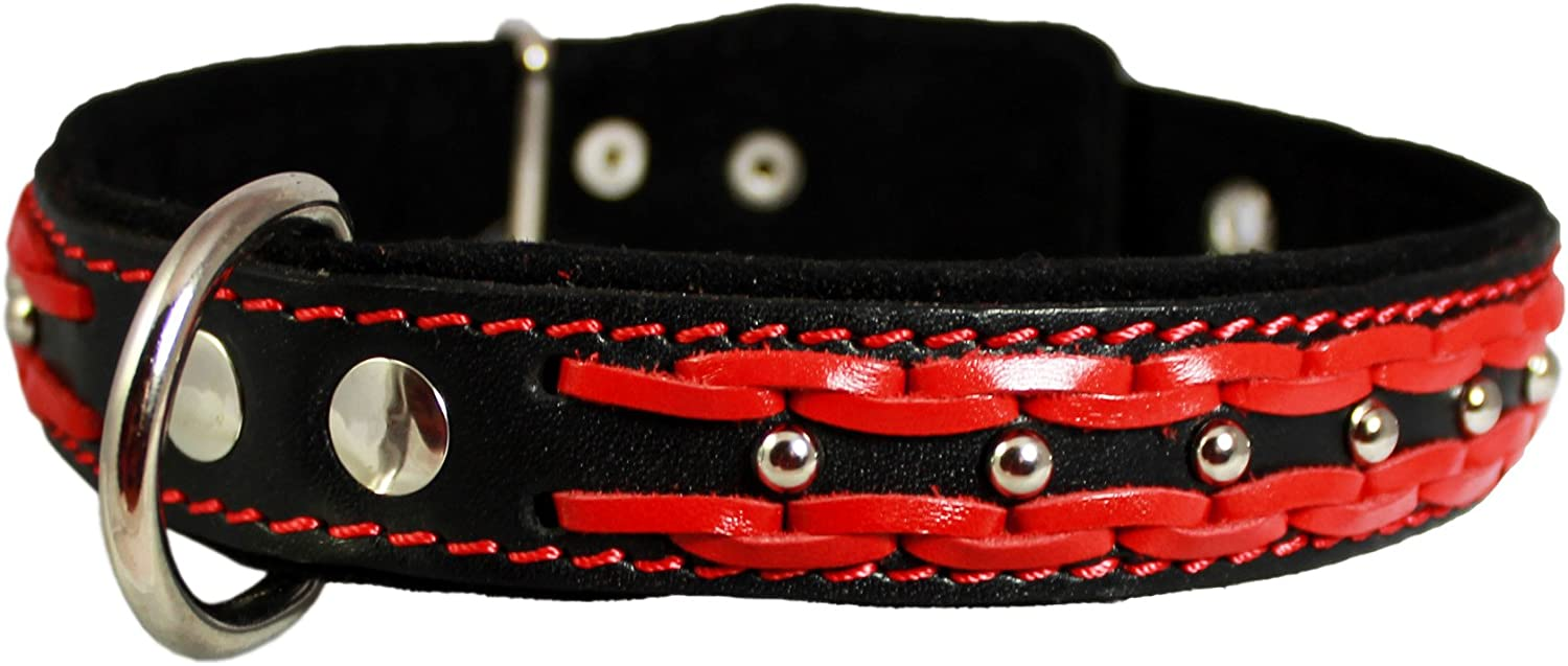 High Quality Genuine Leather Braided Studded Dog Collar,Red on Black 1.25  Wide. Fits 16 20.5  Neck.