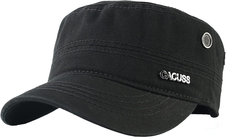 CACUSS Cotton Classic Army Hat Adjustable Mens Caps Military Hat Comfy Cadet Hat Vintage Flat Top Cap Baseball Cap