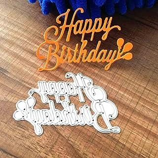 U-horizon Matrices de découpe Joyeux Anniversaire Happy Birthday, Cutting Dies Pochoir à découper en métal pour Scrapbooki...