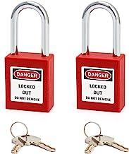 QWORK Lockout-hangslot, 2 stuks hangsloten met 4 sleutels, rood, 38 mm