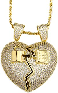 Hip Hop Iced-Out Men Necklace Rapper 14K Gold Plated CZ Fully Shiny Diamond Broken Heart Pendant Necklace with 24 inches Long Chain for Men Women Fashion Jewelry Gifts