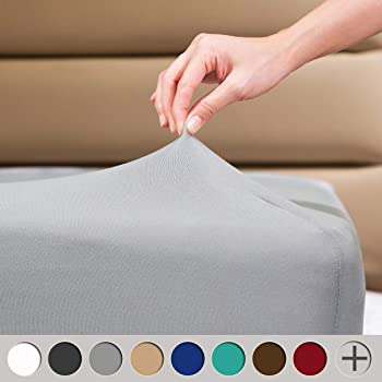 """COSMOPLUS Fitted Sheet Queen Fitted Sheet Only(No Flat Sheet or Pillow Shams),4 Way Stretch Micro-Knit,Snug Fit,Wrinkle Free,for Standard Mattress and Air Bed Mattress from 8"""" Up to 14"""",Light Gray"""