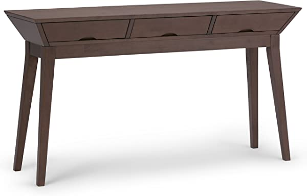 Simpli Home AXCTSA 03 Tessa Solid Hardwood 54 Inch Wide Contemporary Console Sofa Table In Walnut Brown