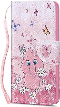 Kompatibel f�r Huawei P9 Lite H�lle Ledertasche Flip Case,QPOLLY Premium PU Leder Gemalt Muster Brieftasche Klapp Schutzh�lle im Bookstyle mit Kredit Karten Fach Magnet Handy H�lle Tasche,Elefant