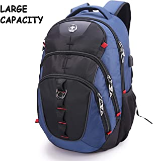 Swissdigital Business Travel Laptop Backpack-for Man and Woman with Smart USB Charging Port Fits 15.6 inches laptops, Blue