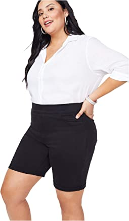 "Plus Size 9"" Pull-On Shorts with Roll Cuff in Black"
