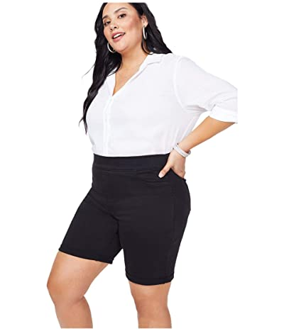 NYDJ Plus Size Plus Size 9 Pull-On Shorts with Roll Cuff in Black (Black) Women