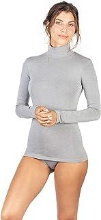 EGI Maglia a Manica Lunga Donna con Collo Alto in Micromodal Made in Italy