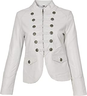 HOL Womens Genuine Leather Military Style Jacket Slim Fit Waist Length Janet White
