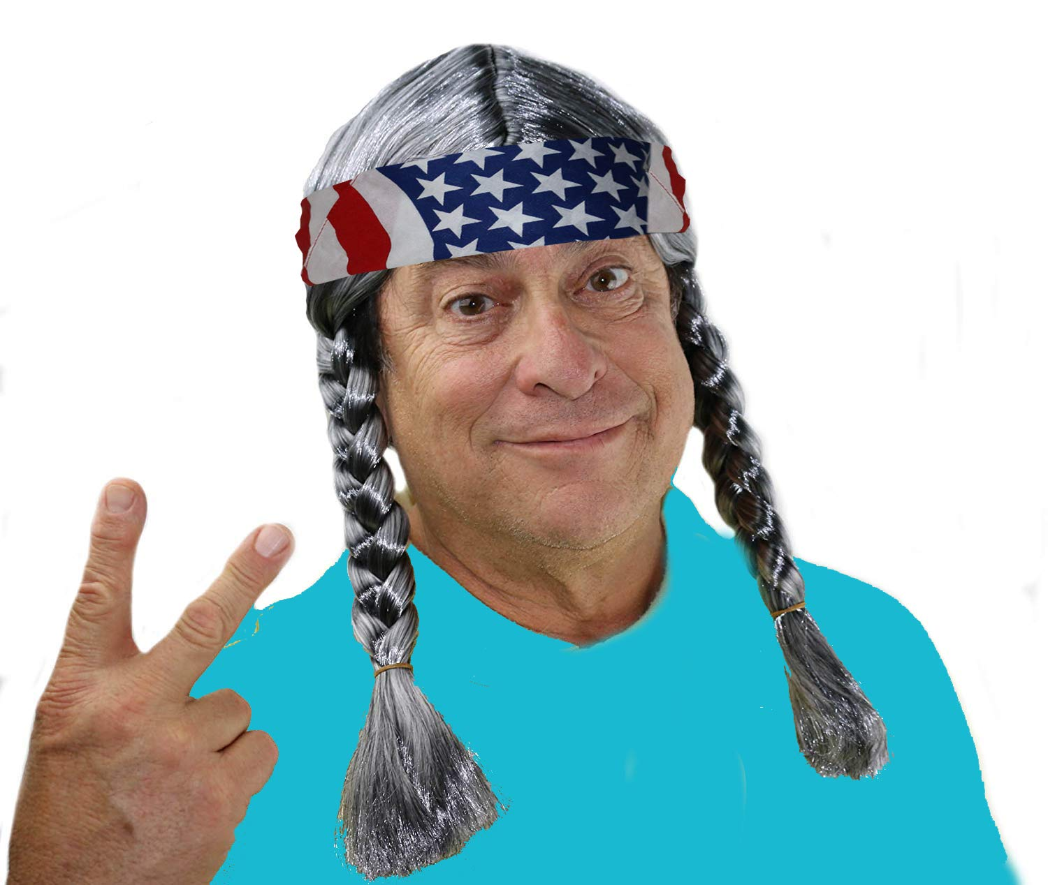Braided Hippie Wig, Grey Willie Costume Wig, Hippie Wig Costume, Willie Costume Wig, Country Cowgirl Cowboy Willy Wig, Mens Hippy Wig with Braids and an American Flag Bandana