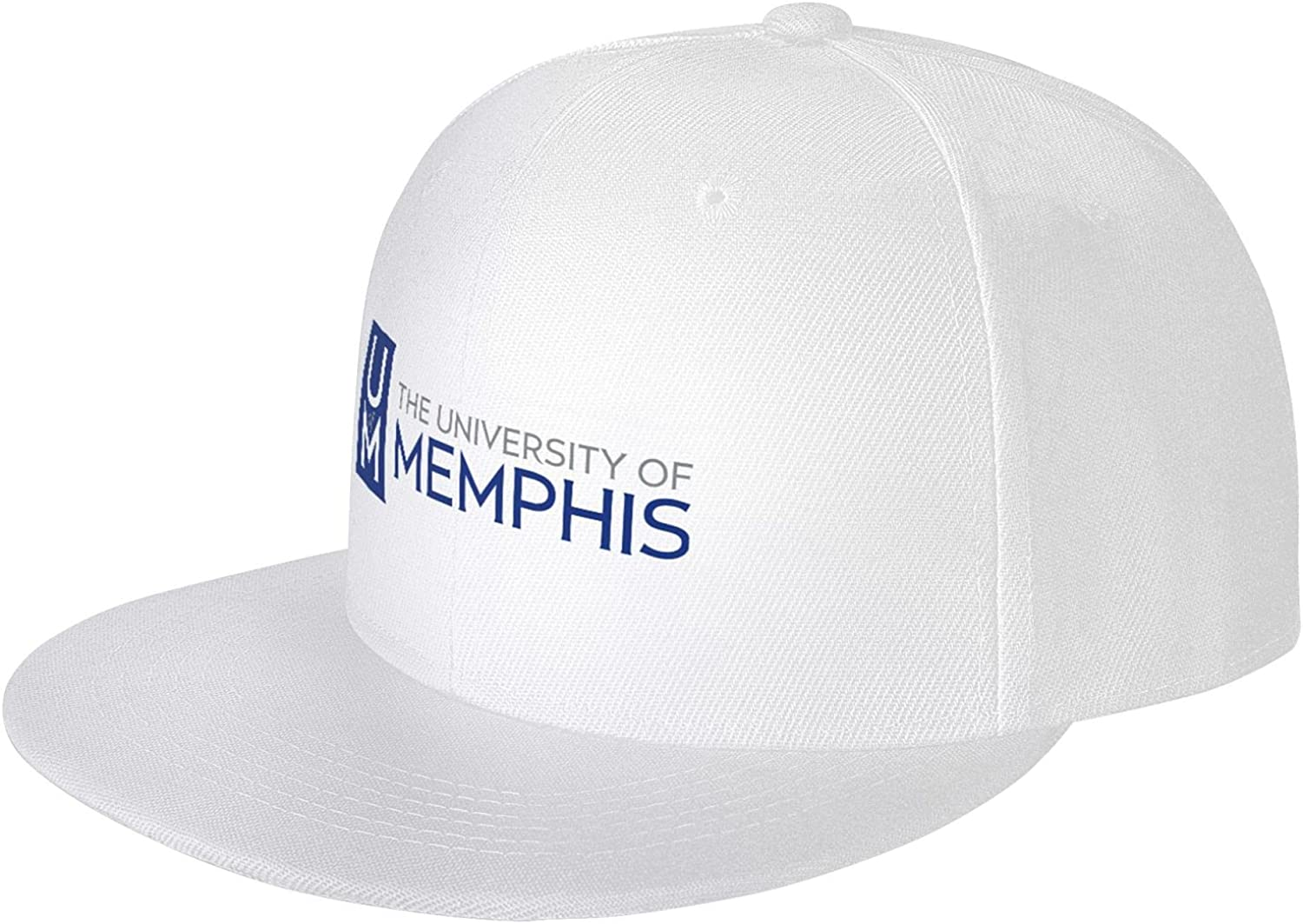 University of Memphis-Logo Unisex Adjustable Baseball Cap, Flat-Brimmed Sun Hat, Casual and Breathable White